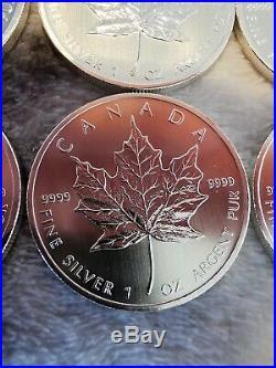 BU 25x 1oz Silver coins 2013 Canadian Maple Leaf Full Tube. 9999 Key Date
