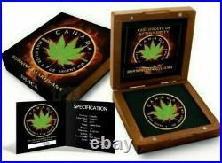 Burning Marijuana Maple Leaf 1 oz Silver Coin 5 $ Canada 2017