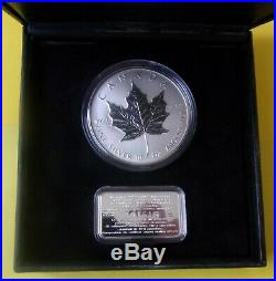 CANADA 1998 Fifty Dollars Maple Leaf coin (10 oz fine silver) $50 with ingot