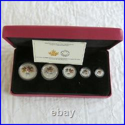 CANADA 2016.9999 FINE SILVER FRACTIONAL 5 COIN MAPLE LEAF SET boxed/coa