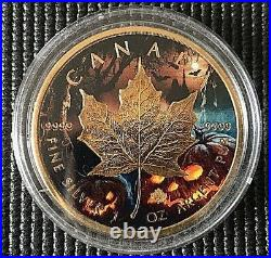 CANADA 2016 HALLOWEEN MAPLE LEAF. 9999 24K Gold Silver Coin