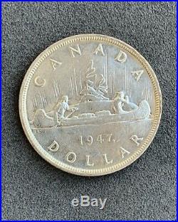 CANADA Canadian 1947 Maple Leaf silver dollar King George VI