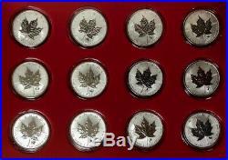 CANADA Set of (12) 2004 Privy Mark Silver Maple Leaf coins Zodiac series Case