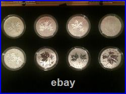 Canada $10 Custom Maple Leaf Forever set 8 coins 1/2 oz Fine Silver Wooden Box