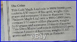 Canada 1979-89 Commemorative Maple Leaf Set Silver, Platinum, Gold 9999 COA