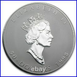 Canada 1998 $50 10th Anniversary 10oz Silver Maple Leaf Coin Royal Canadian Mint