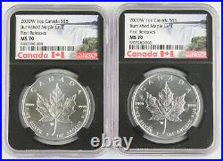 Canada 2002 W Burnished Maple $5 1 Oz 9999 Silver Coin NGC MS70 First Releases