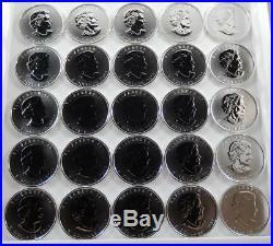 Canada 2011 BU Timber Wolf 1 oz Silver Canadian Maple Leaf $5 25 Coin Roll CB405
