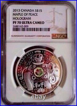 Canada 2013 $15 Maple Of Peace Elephant Proof Hologram Ngc Pf70 Uc Silver Coin