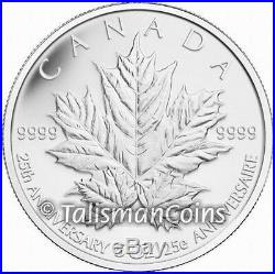 Canada 2013 25th Anniversary of the SML $50 5 Ounce Pure Silver Maple Leaf