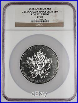 Canada 2013 5 Oz Silver Maple Leaf 25th Anniversary Reverse Proof Coin NGC PF70