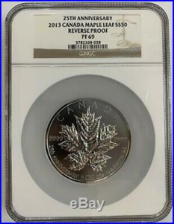 Canada 2013 5 Oz Silver Maple Leaf 25th Anniversary Reverse Proof NGC PF69 SA