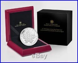 Canada 2013 Maple Leaf 5 oz. $50 Pure Silver Reverse Proof 25th Anniversary