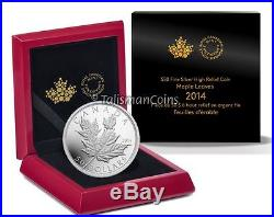 Canada 2014 Silver Maple Leaf $50 5 Ounce Pure Silver Ultra High Relief Proof