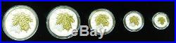 Canada 2014 Sugar Maple Leaves Fine Silver Maple Leaf Fractional Set
