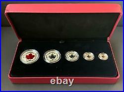 Canada 2015, Fine Silver Maple Leaf Fractional Set 5 Coins RCM