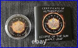 Canada 2016 $5 Maple Leaf ECLIPSE OF THE SUN Black Ruthenium Silver Coin
