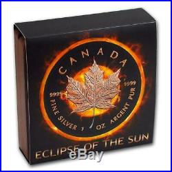 Canada-2016 ECLIPSE OF THE SUN $5 Maple Leaf Silver Coin Black Ruthenium