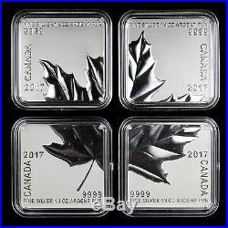 Canada 2017 $3 Maple Leaf Quartet 4-piece Pure Silver Square Coins MINT ERROR