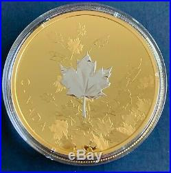 Canada 2017, 3 oz. $50 Reverse Gold-Plated Pure Silver Coin-Whispering Maple Leaf