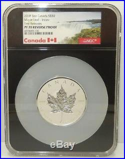 Canada, 2018 3 oz $50 Silver Incuse Maple Leaf NGC Reverse Proof PF70