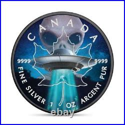 Canada 2018 5$ Maple Leaf -ALIEN AND UFO- Glow in the Dark 1 Oz silver coin
