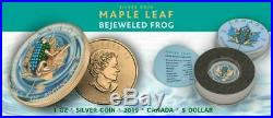 Canada 2019 $5 Maple Leaf Bejeweled FROG 1 oz Silver Coin