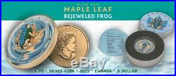 Canada 2019 5$ Maple Leaf Bejeweled FROG 1 oz Silver Coin 500 pcs LIMITED