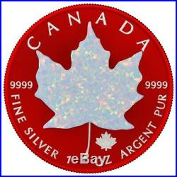 Canada 2019 5$ Maple Leaf Space RED 1oz Silver Coin with Real OPAL Stone