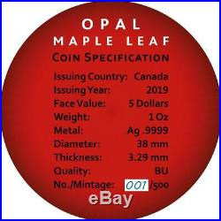Canada 2019 5$ Maple Leaf Space RED 1oz Silver Coin with Real OPAL Stone PRESALE