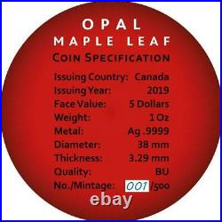 Canada 2019 5$ Maple Leaf Space Red with Real Opal Stone 1 Oz Silver Coin