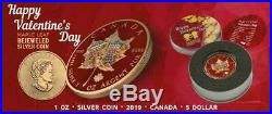 Canada 2019 $5 Maple Leaf True Love 1 Oz Bejeweled Silver Coin