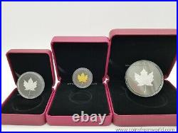 Canada 2020 200$ Rhodium Plated Incuse Gold Maple Leaf Gold Silver Coin SET