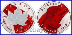 Canada 2020 5$ Maple Leaf Metallic & White Opal 1 Oz Silver Coin