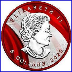 Canada 2020 5$ Maple Leaf Space RED 1 Oz Silver Coin w. Red Opal Stone