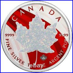Canada 2020 5$ Maple Leaf Space Red with White Opal Stone 1 Oz Silver Coin