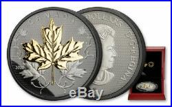 Canada 2020 50$ Maple Leaves In Motion Black Rhodium 5 oz. Leaf Silver Coin