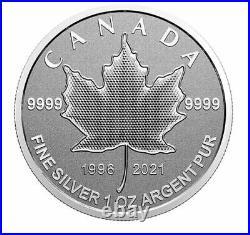 Canada $5 Five Dollars 1Oz Silver Coin, Maple Leaf, Arboreal Emblem, 2021