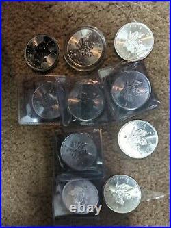 Canadian. 9999 $5 Silver Maple Leaf Bu Coins Lot of 10 2014 1 oz
