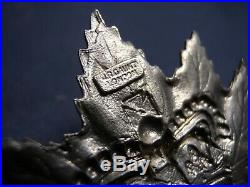 Canadian Army Boer War Officers Canada Pith Helmet Cap Badge Maple Leaf Silvered