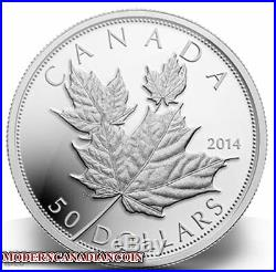 Canadian Coin 2014 $50 Fine Silver 5oz High Relief Coin Maple Leaves RCM