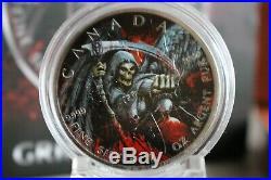 GRIM REAPER Death Maple Leaf Armageddon II 1 Oz Silver Coin 5$ Canada 2017