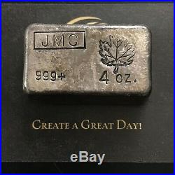 Johnson Matthey Canada JMC Maple Leaf 4 oz. 999 Silver Poured Bar RARE