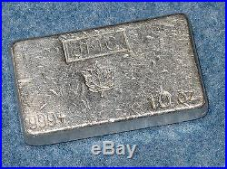 Johnson Matthey Canada Maple Leaf. 999 Silver 10 Oz Bar Old Poured Type B6963