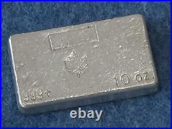 Johnson Matthey Canada Maple Leaf. 999 Silver 10 Oz Bar Old Poured Type B6963