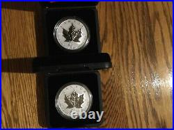 LOT OF 2 1945-2005 PRIVY TULIP 1 oz. PURE SILVER MAPLE LEAF COINS LOWEST EVER