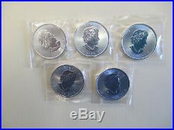 LOT OF 5 2015 1 oz. 999 Silver Uncirculated Canada Maple Leaf $5 Briliant
