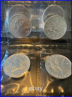 LOT of (10) 2010 1OZ Canada SILVER Maple Leafs SEALED in mint plastic blisters