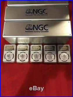 Lot 0F 5 2016 Canadian Silver Maple Leaf BIGFOOT Privy NGC PF69 First Day of Isu