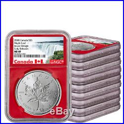 Lot-10 2018 Canada 1 oz Silver Maple Leaf Incuse $5 NGC MS69 ER WithBox SKU53632